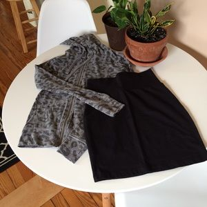 Long sleeve hoodie with cotton mini skirt xs